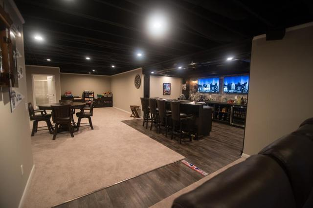 Black painted ceiling in Oakland Township, MI basement design