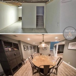 before and after image of finished basement from poor layout to open concept