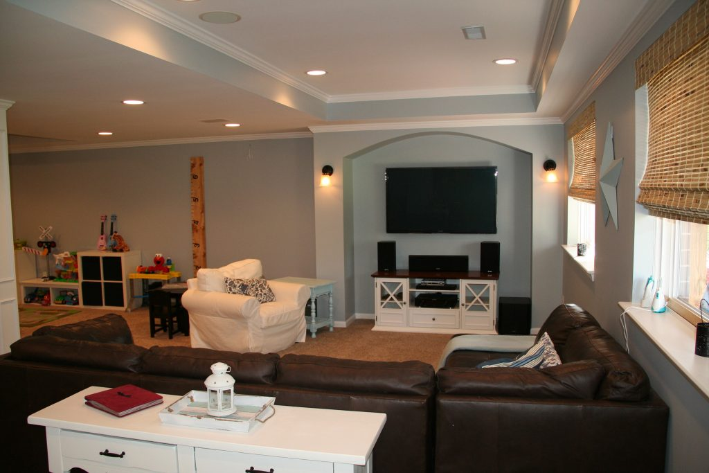 finished basement with new clean design to match upstairs of home