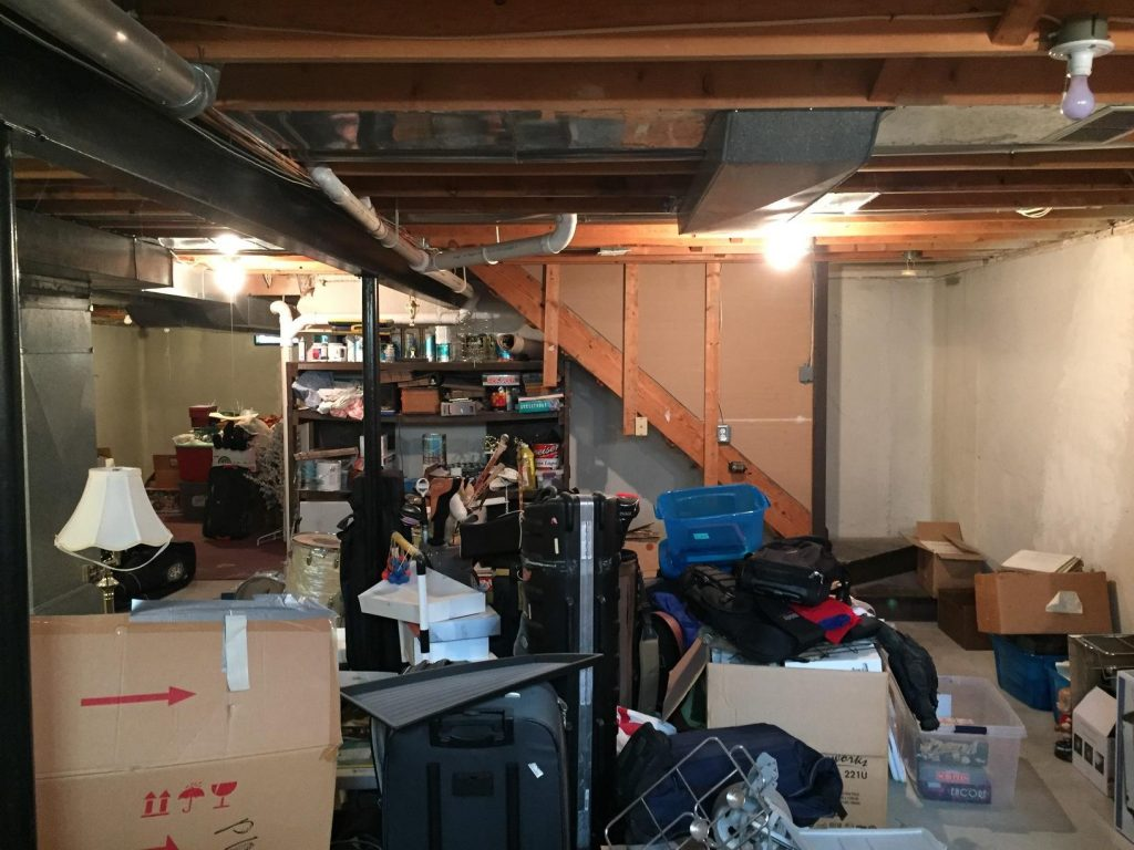basement with unused space for only storage