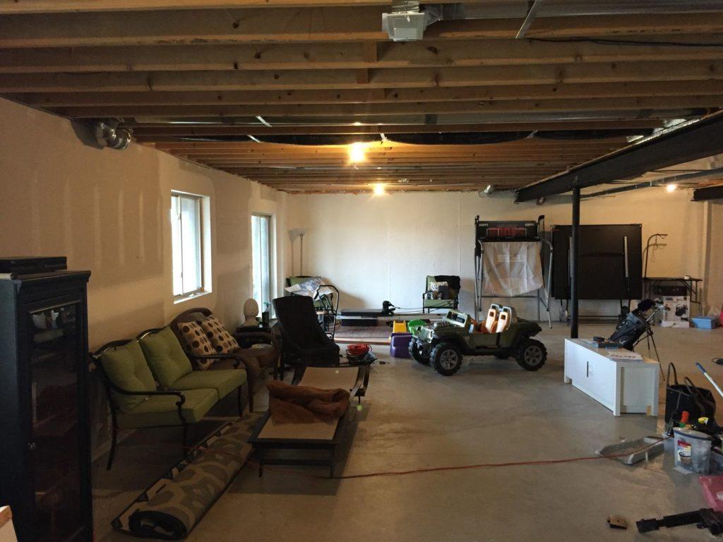 unfinished walkout basement