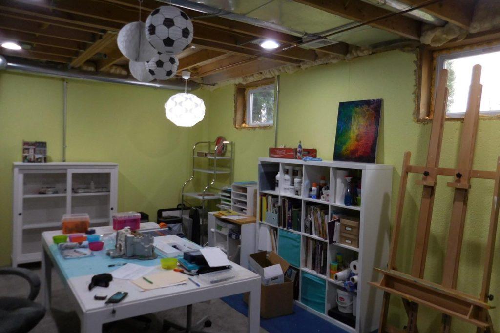 unfinished studio in basement in berkley michigan