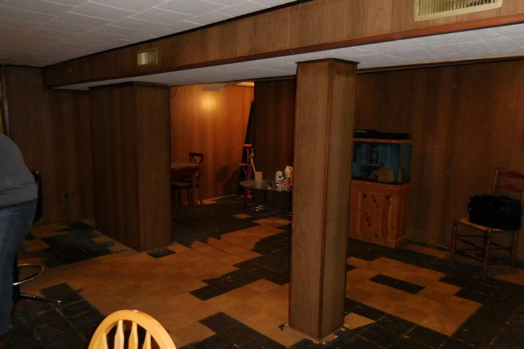 old basement with paneling and dirty flooring