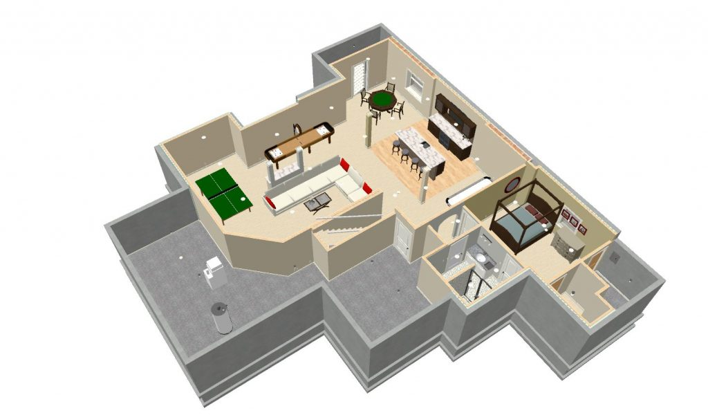 basement remodel 3d image floorplan layout