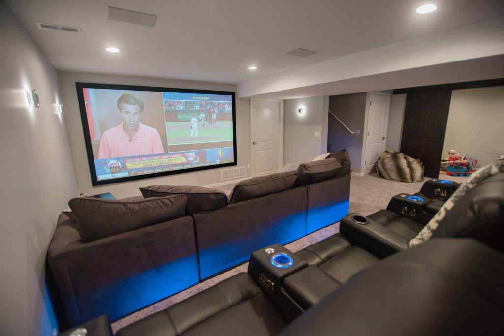 basement theater with platform seating