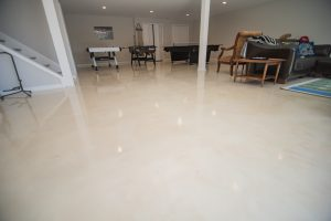 epoxy covered flooring finished basement white