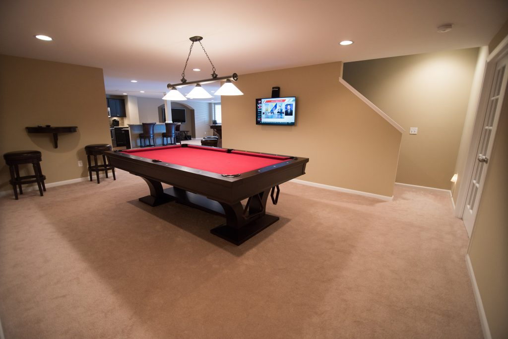 pool table and staircase