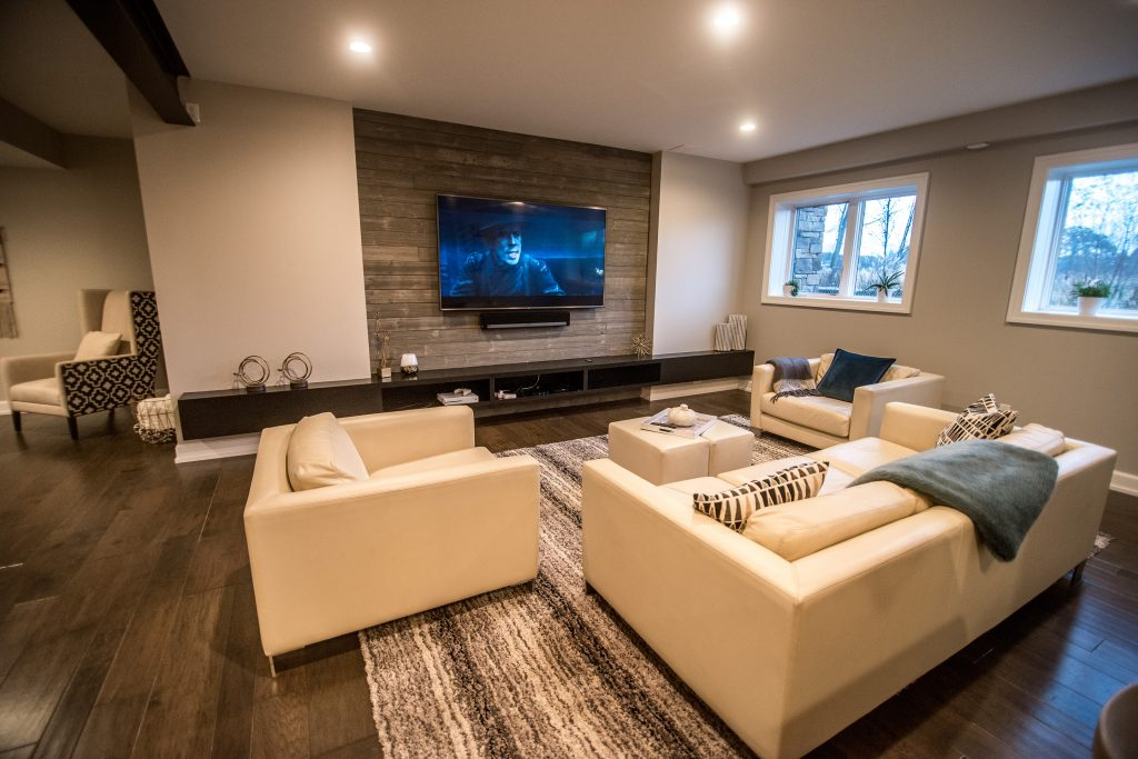 modern and industrial basement living room design