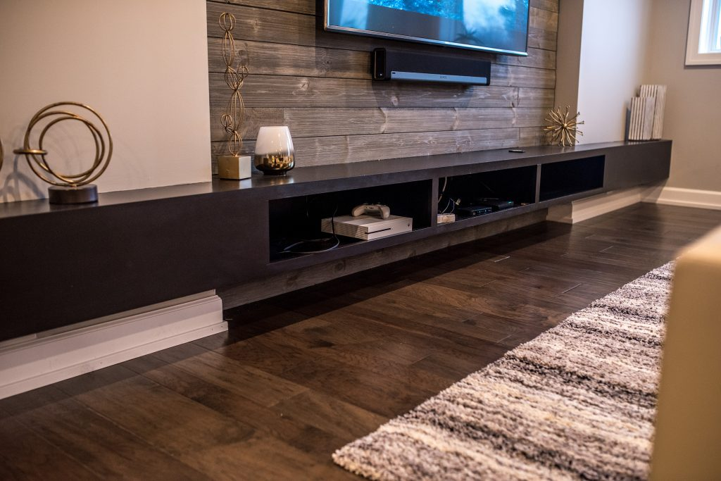 floating media center console that was custom built