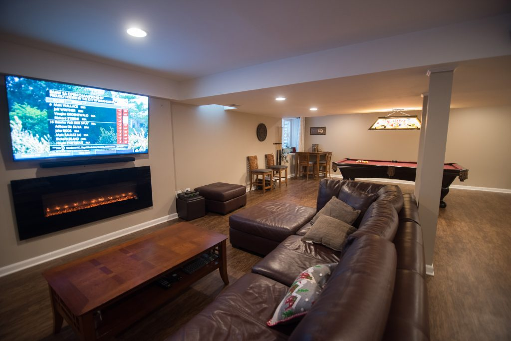 basement finished with living room and pool table