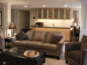 finished basement remodeled with bar area
