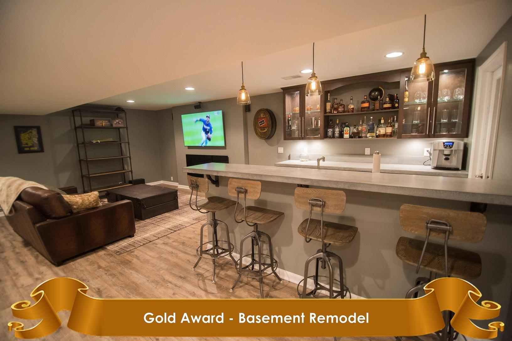 home builders association of south eastern michigan gold award for basement remodel finished basements plus