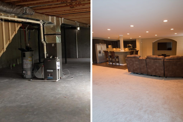 New Hudson, MI basement with carpet kitchenette and living room
