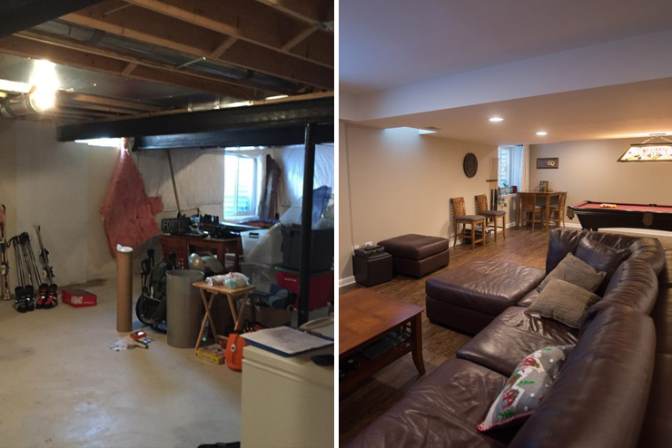 westland finished basement with vinyl plank flooring and egress window