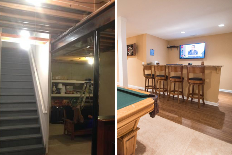 custom finished basement with bar area and vinyl plank