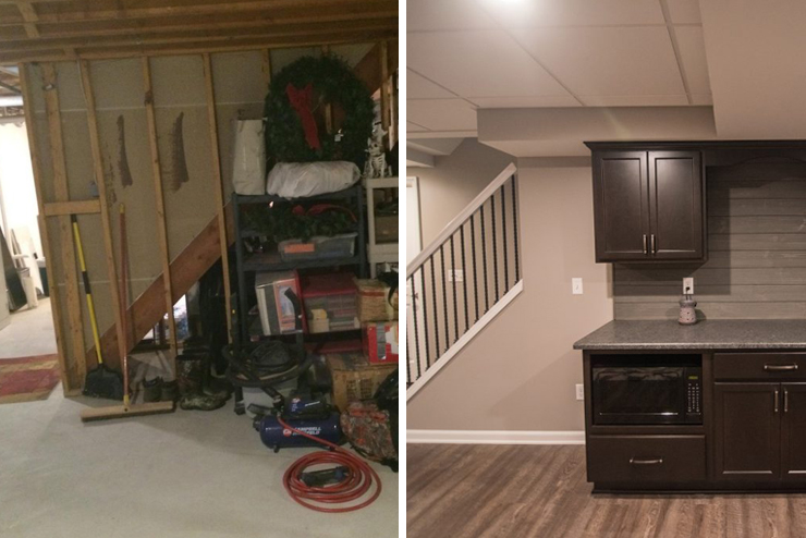 northville michigan finished basement with vinyl plank before and after