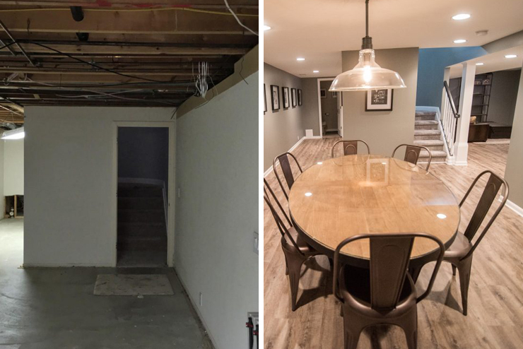 finished basement with light vinyl plank and remodeled staircase