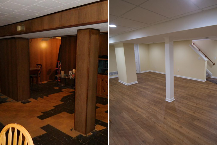 before and after of dark remodeled basement