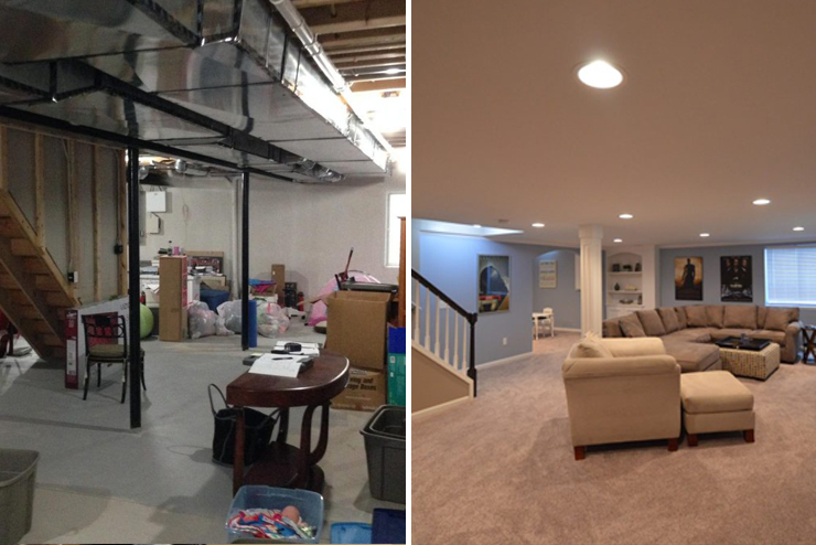 troy michigan basement with carpet and bright paint to feel open and inviting