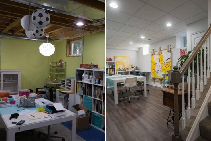 Berkley, MI finished basement with studio