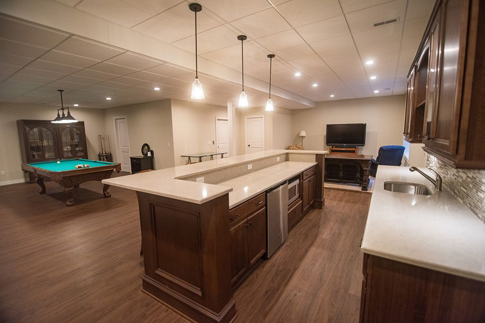 bar island with granite counter tops