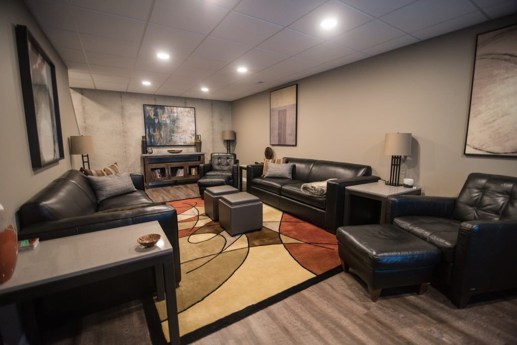 basement living room with modern design features and colors