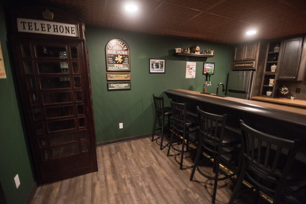 basement bar with pub style design