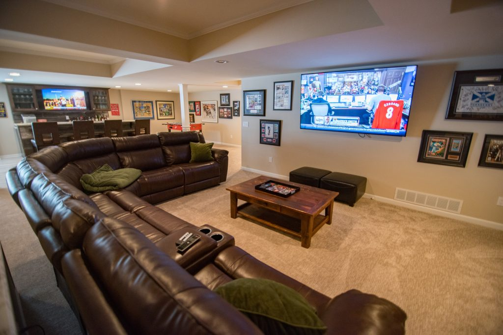 Clarkston Michigan basement living room with carpeting for comfort