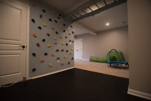 rockwall in basement finished for the kids