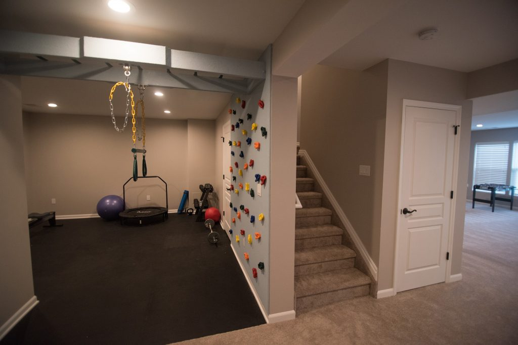 basement climbing wall for kids in own area