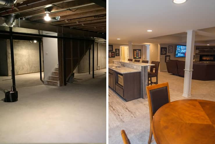 clarkston michigan finished basement with post warps and reclaimed wood