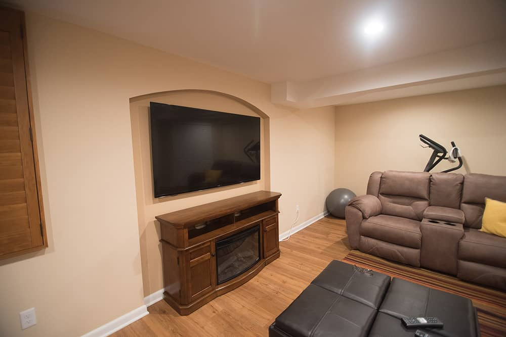 traditional small basement with living room and bathroom