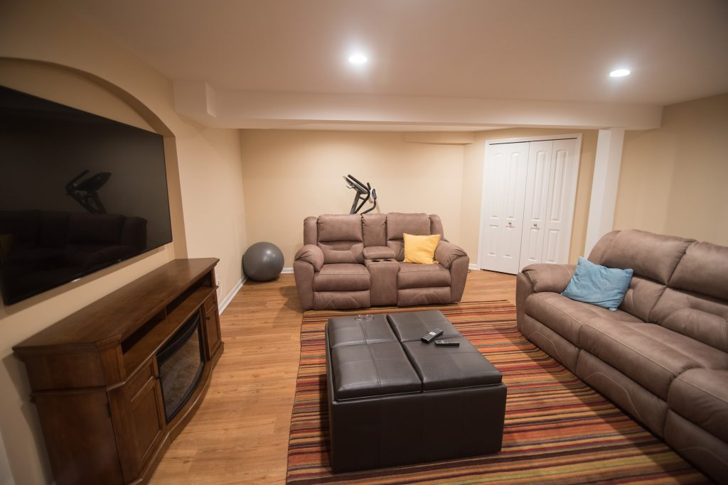 basement living room in Clinton Township, MI