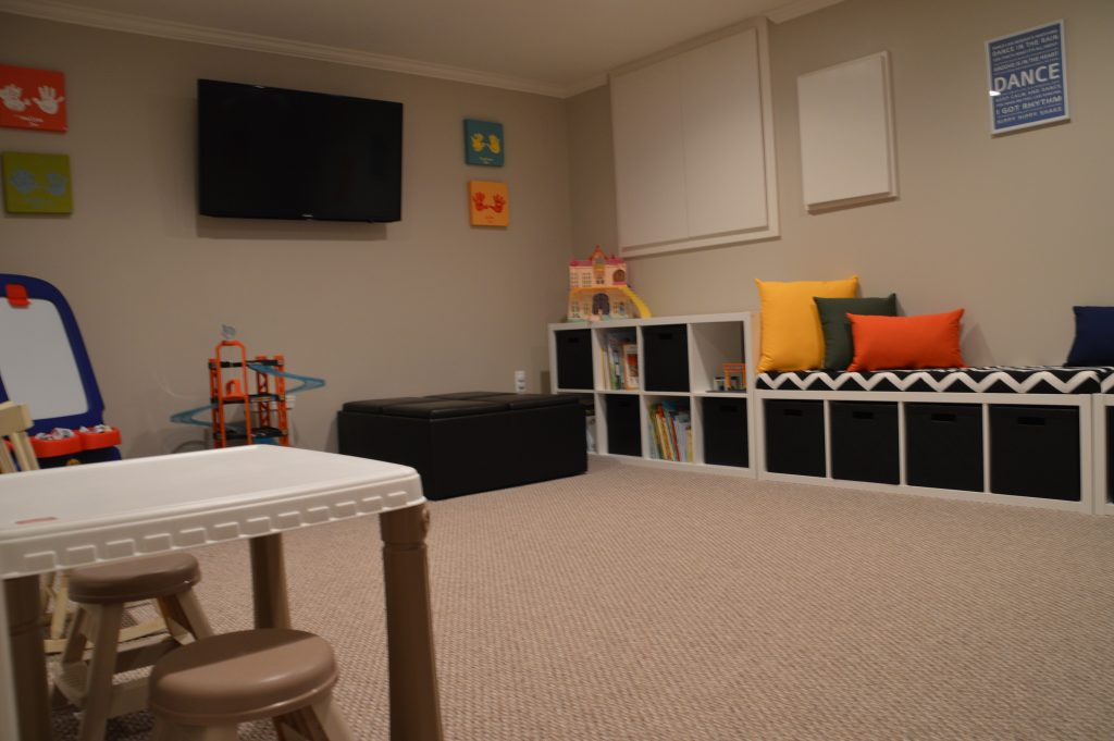 basement playroom for kids storage built in carpet