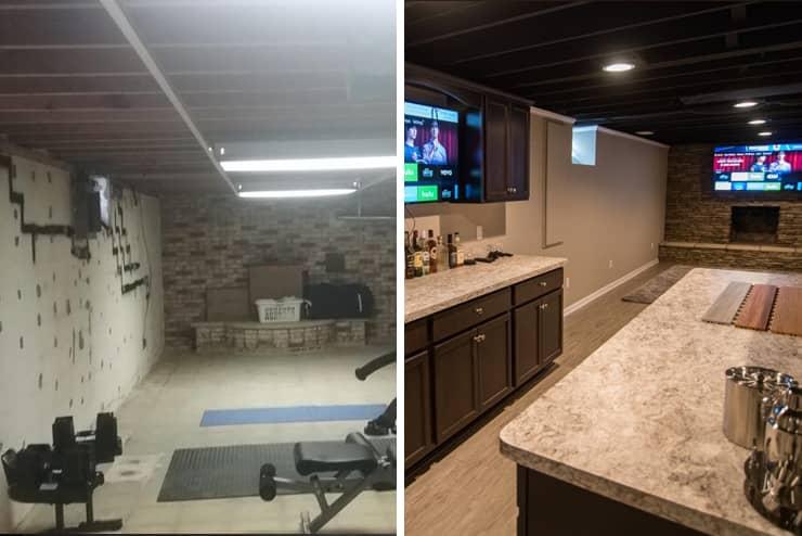 farmington michigan basement finishing project vinyl plank flooring and home bar