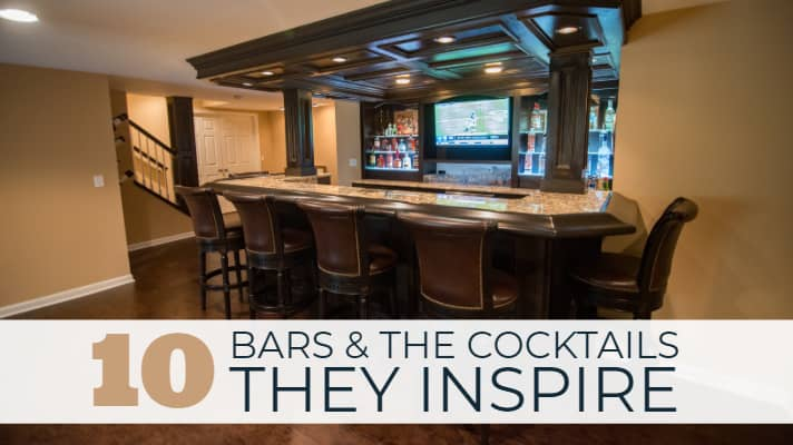 basement bar with wood accents and bar stools and led lights