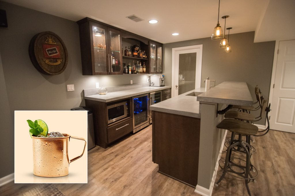 Franklin MI rustic finished basement with concrete countertops inspires Moscow Mule drink