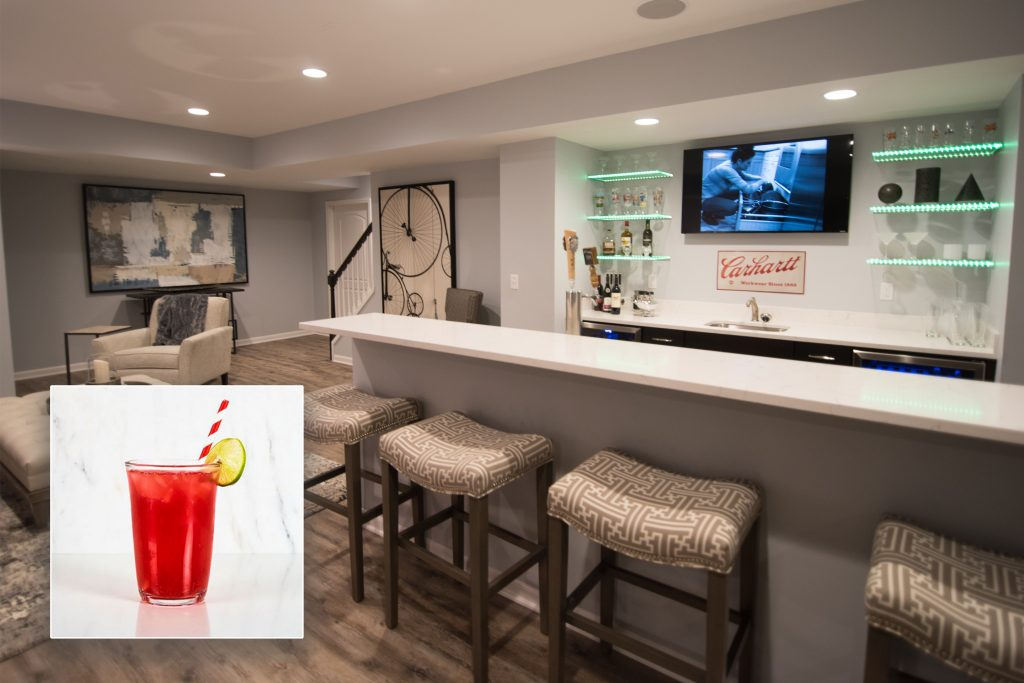Novi, MI finished basement bar inspires the Sea Breeze