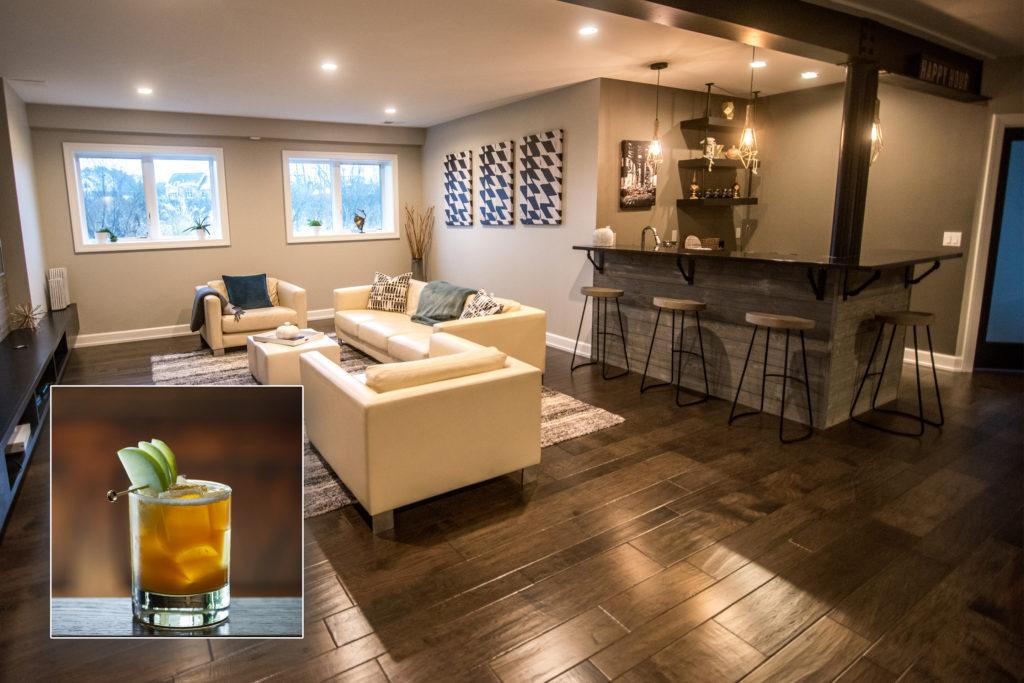 Commerce, MI finished basements plus bar inspires the Apple Jack drink