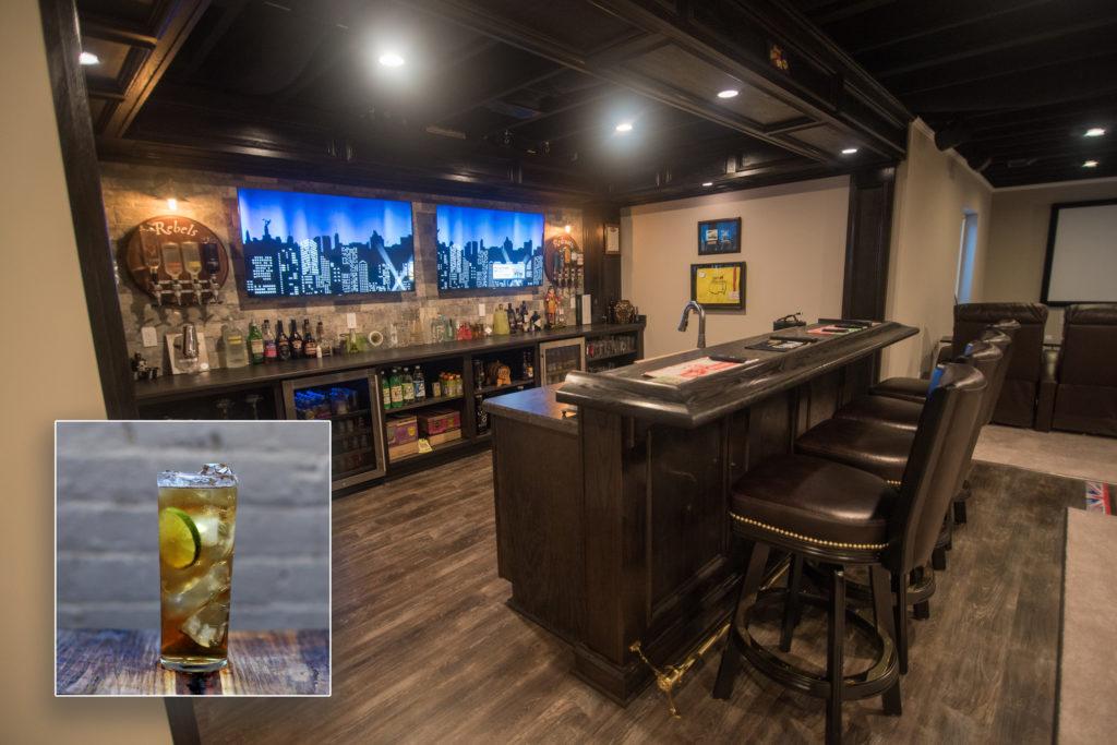 oakland township michigan finished basement bar inspires Jamison & Ginger drink