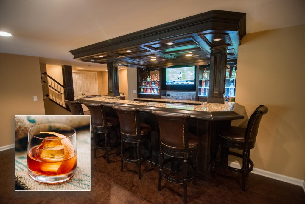 Novi, MI finished basement bar inspires Old Fashioned drink