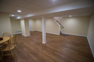 bright open basement remodeled from dark unused space