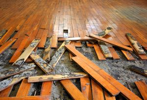 moldy warped wood flooring in basement tear out