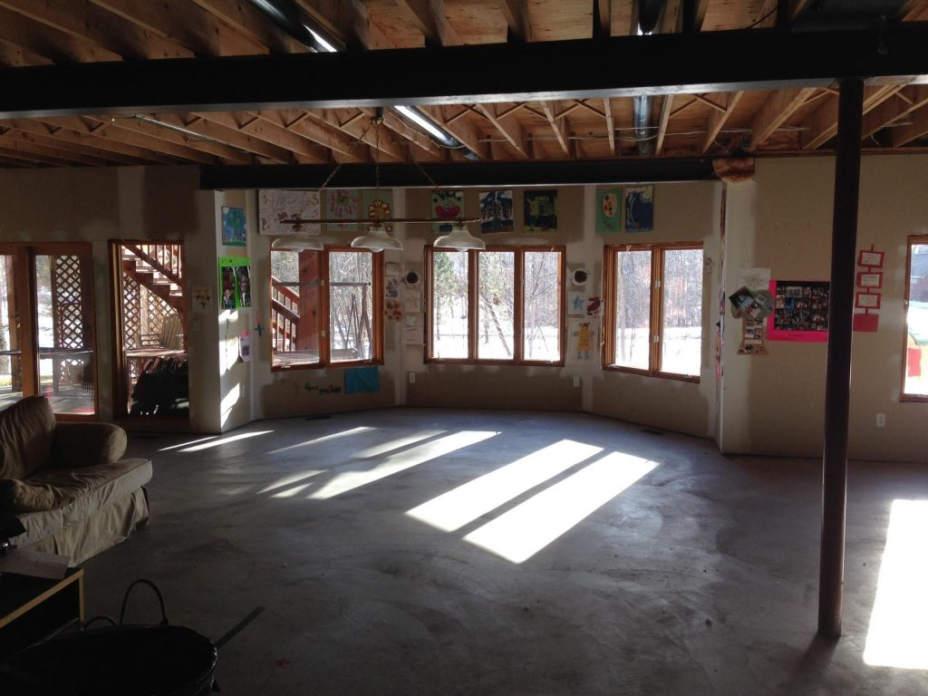 unused basement with large walkout basement windows