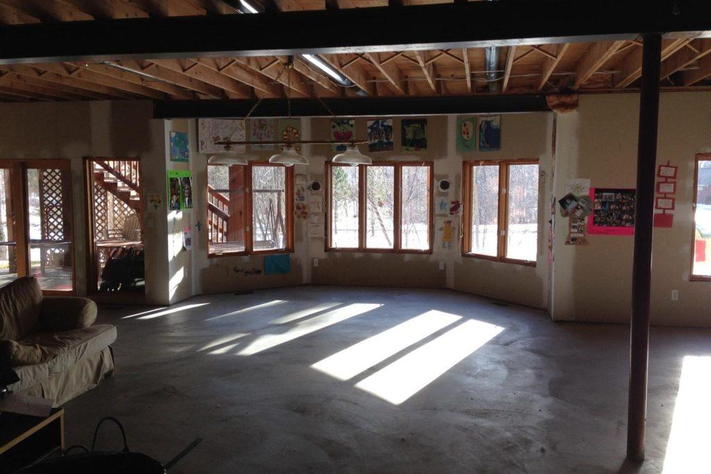 unused basement with large walkout basement windows