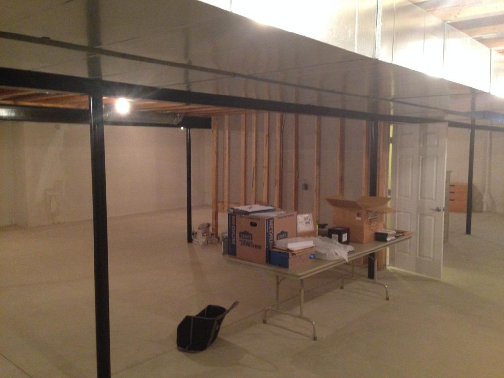 unfinished basement with closed off straircase