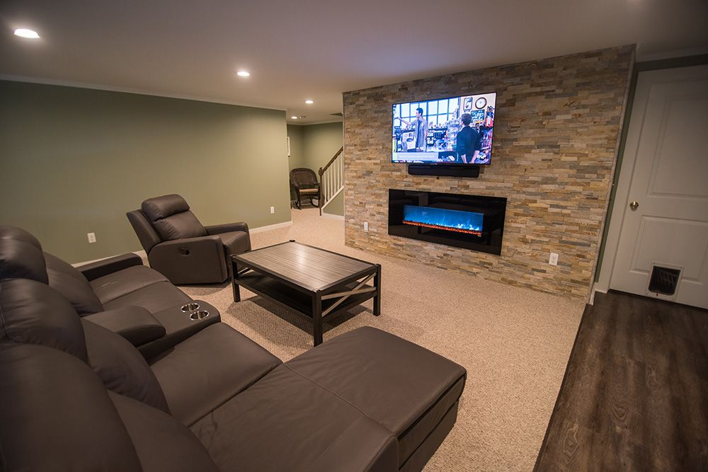 living room and basement kitchen