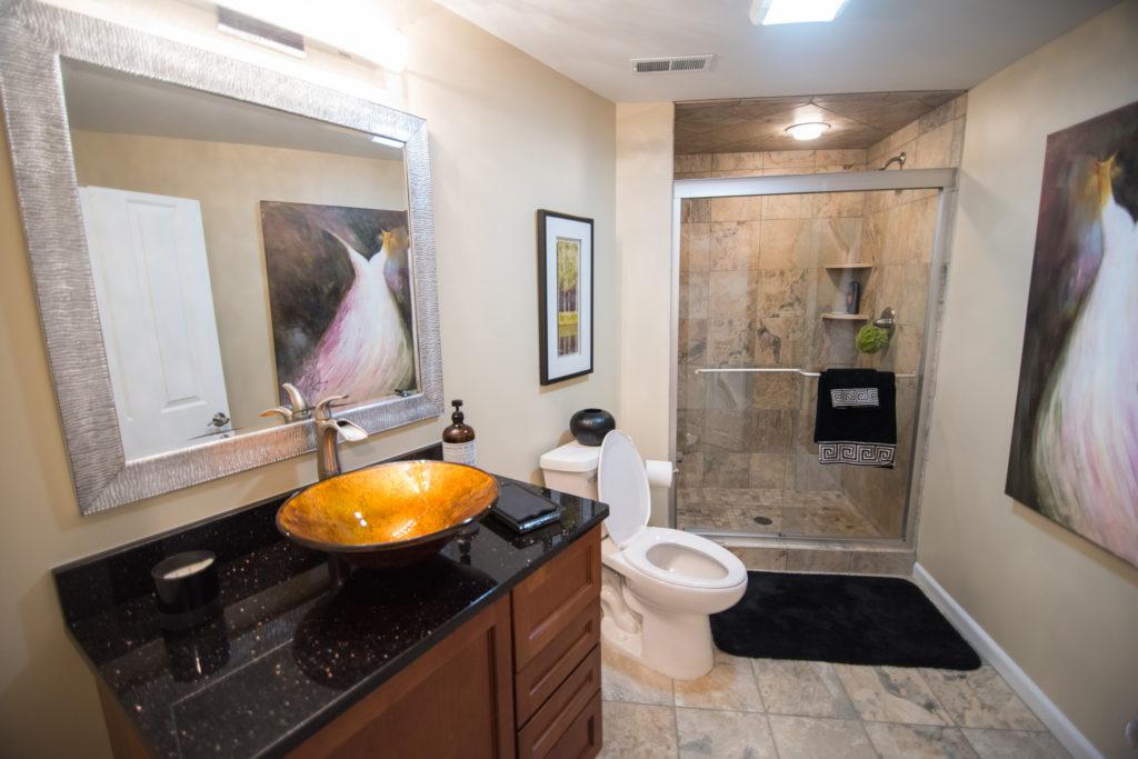 vinyl tile in finished basement bathroom