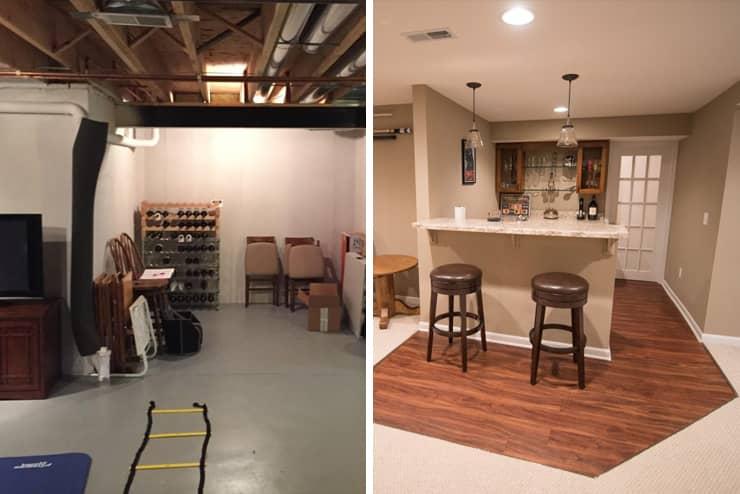 northville michigan finished basement with vinyl plank flooring bar area