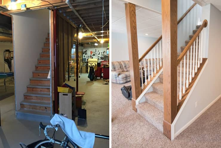 northville michigan finished basement staircase with carpet and post wraps